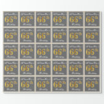 [ Thumbnail: Elegant, Gray, Faux Gold 66th Birthday + Name Wrapping Paper ]