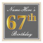 [ Thumbnail: Elegant, Gray, Faux Gold 67th Birthday + Name Invitation ]
