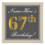 [ Thumbnail: Elegant, Gray, Faux Gold 67th Birthday + Name Poster ]