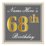 [ Thumbnail: Elegant, Gray, Faux Gold 68th Birthday + Name Invitation ]