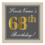 [ Thumbnail: Elegant, Gray, Faux Gold 68th Birthday + Name Poster ]