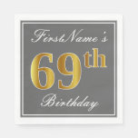 [ Thumbnail: Elegant Gray, Faux Gold 69th Birthday; Custom Name Paper Napkin ]