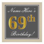 [ Thumbnail: Elegant, Gray, Faux Gold 69th Birthday + Name Poster ]