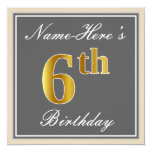 [ Thumbnail: Elegant, Gray, Faux Gold 6th Birthday; Custom Name Invitation ]