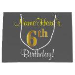 [ Thumbnail: Elegant, Gray, Faux Gold 6th Birthday; Custom Name Gift Bag ]