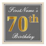 [ Thumbnail: Elegant, Gray, Faux Gold 70th Birthday + Name Invitation ]