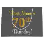 [ Thumbnail: Elegant, Gray, Faux Gold 70th Birthday + Name Gift Bag ]