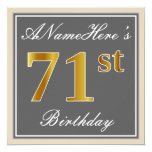 [ Thumbnail: Elegant, Gray, Faux Gold 71st Birthday + Name Invitation ]