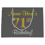[ Thumbnail: Elegant, Gray, Faux Gold 71st Birthday + Name Gift Bag ]