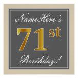 [ Thumbnail: Elegant, Gray, Faux Gold 71st Birthday + Name Poster ]