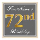 [ Thumbnail: Elegant, Gray, Faux Gold 72nd Birthday + Name Invitation ]