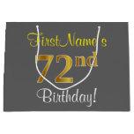 [ Thumbnail: Elegant, Gray, Faux Gold 72nd Birthday + Name Gift Bag ]
