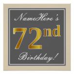 [ Thumbnail: Elegant, Gray, Faux Gold 72nd Birthday + Name Poster ]