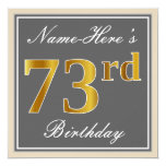 [ Thumbnail: Elegant, Gray, Faux Gold 73rd Birthday + Name Invitation ]