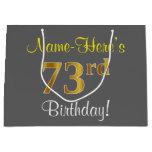 [ Thumbnail: Elegant, Gray, Faux Gold 73rd Birthday + Name Gift Bag ]