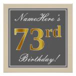 [ Thumbnail: Elegant, Gray, Faux Gold 73rd Birthday + Name Poster ]
