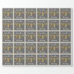 [ Thumbnail: Elegant, Gray, Faux Gold 73rd Birthday + Name Wrapping Paper ]