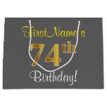 [ Thumbnail: Elegant, Gray, Faux Gold 74th Birthday + Name Gift Bag ]