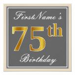 [ Thumbnail: Elegant, Gray, Faux Gold 75th Birthday + Name Invitation ]
