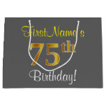 [ Thumbnail: Elegant, Gray, Faux Gold 75th Birthday + Name Gift Bag ]
