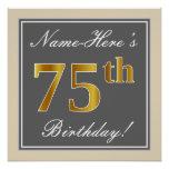 [ Thumbnail: Elegant, Gray, Faux Gold 75th Birthday + Name Poster ]