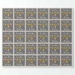 [ Thumbnail: Elegant, Gray, Faux Gold 75th Birthday + Name Wrapping Paper ]