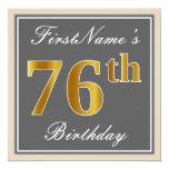 [ Thumbnail: Elegant, Gray, Faux Gold 76th Birthday + Name Invitation ]