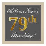 [ Thumbnail: Elegant, Gray, Faux Gold 79th Birthday + Name Poster ]