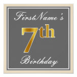 [ Thumbnail: Elegant, Gray, Faux Gold 7th Birthday; Custom Name Invitation ]