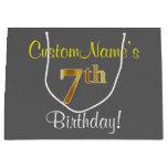 [ Thumbnail: Elegant, Gray, Faux Gold 7th Birthday; Custom Name Gift Bag ]