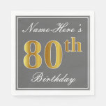 [ Thumbnail: Elegant Gray, Faux Gold 80th Birthday; Custom Name Paper Napkin ]
