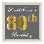 [ Thumbnail: Elegant, Gray, Faux Gold 80th Birthday + Name Invitation ]