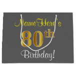 [ Thumbnail: Elegant, Gray, Faux Gold 80th Birthday + Name Gift Bag ]
