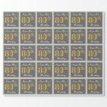 [ Thumbnail: Elegant, Gray, Faux Gold 80th Birthday + Name Wrapping Paper ]