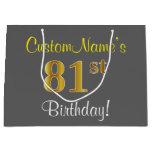 [ Thumbnail: Elegant, Gray, Faux Gold 81st Birthday + Name Gift Bag ]