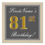 [ Thumbnail: Elegant, Gray, Faux Gold 81st Birthday + Name Poster ]