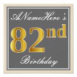 [ Thumbnail: Elegant, Gray, Faux Gold 82nd Birthday + Name Invitation ]
