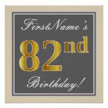 [ Thumbnail: Elegant, Gray, Faux Gold 82nd Birthday + Name Poster ]