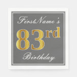 [ Thumbnail: Elegant Gray, Faux Gold 83rd Birthday; Custom Name Paper Napkin ]