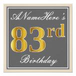 [ Thumbnail: Elegant, Gray, Faux Gold 83rd Birthday + Name Invitation ]