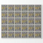 [ Thumbnail: Elegant, Gray, Faux Gold 83rd Birthday + Name Wrapping Paper ]