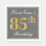 [ Thumbnail: Elegant Gray, Faux Gold 85th Birthday; Custom Name Napkin ]