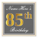 [ Thumbnail: Elegant, Gray, Faux Gold 85th Birthday + Name Invitation ]
