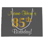 [ Thumbnail: Elegant, Gray, Faux Gold 85th Birthday + Name Gift Bag ]