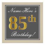 [ Thumbnail: Elegant, Gray, Faux Gold 85th Birthday + Name Poster ]