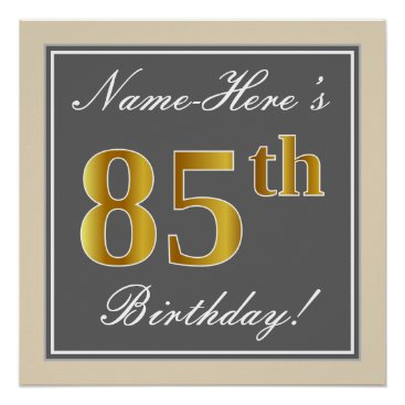 Elegant, Gray, Faux Gold 85th Birthday   Name Poster