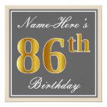 [ Thumbnail: Elegant, Gray, Faux Gold 86th Birthday + Name Invitation ]
