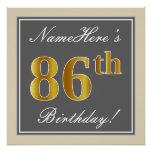 [ Thumbnail: Elegant, Gray, Faux Gold 86th Birthday + Name Poster ]
