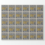 [ Thumbnail: Elegant, Gray, Faux Gold 86th Birthday + Name Wrapping Paper ]