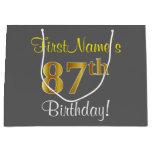 [ Thumbnail: Elegant, Gray, Faux Gold 87th Birthday + Name Gift Bag ]